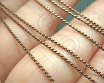 sale -20% / T322BZ / 1 M ( 3.28 feet ) 20 gauge - Antiqued Copper Plated Thin Flattened Rope Chain Findings