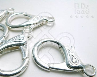 clearance -40% / B126SP / 12Pc / 32mm x 18mm - Silver Plated Chunky Extra Large Lobster Clasp with Leaf Motif