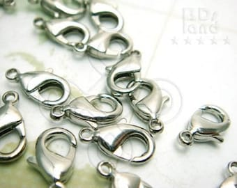 closed out / -50% / B117RH / 24 Pc  / 12 x 7 mm - Rhodium Color Lobster Clasps / Parrot Hooks Findings