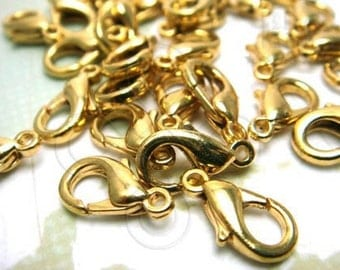 last stock -50% / B105GD / 36Pc / 13mm x 7mm - Gold Plated ( Dull-tone ) Lobster Clasp Findings