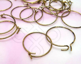 bulk discount -10% / D606GA / 24Pc / 120Pc / D14mm x 23gauge - Antique Gold Plated Hoops Earrings / Earwires Findings ( XS )