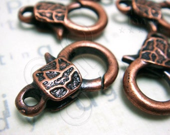 B123BZ / 4Pc / 23x13mm - Antique Copper Plated Chunky Textured Lobster Clasp Findings