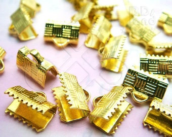 A402GD / 12 Pc / 10 x 8 mm - Gold Plated Flat Fastener Crimp / Connector Findings