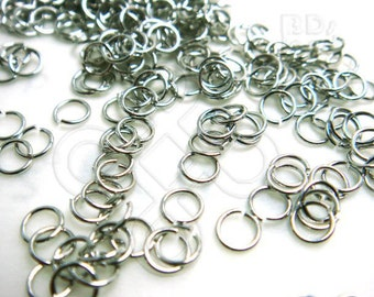 C212RH / 4 Gm ( approx 201 Pc ) Dia. 4 mm x 24 gauge - Rhodium Plated Soft Jump Rings / Open Rings Findings