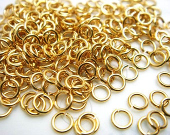 C201GD / 6 Gm ( approx 180 Pc ) Dia. 4 mm / 21 gauge - Gold Plated Jump Rings / Open Rings