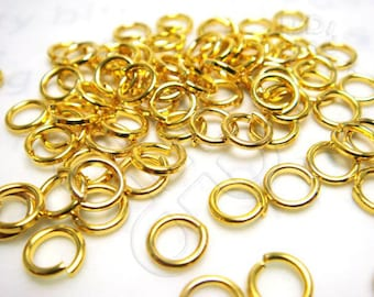 sales -10% / C315GD / 10Gm *109Pc / D6mmX18gauge - Gold Plated 6mm Hard Jump Rings / Open Rings Findings