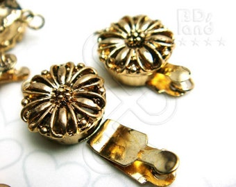 Clearance Sales -50% / B616GA / 8Sets / Diameter 12mm - Antique Gold Plated 12mm Boxed Filigree Clasps Findings.