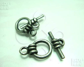 B318SA / 6 Sets - Antique Silver Plated Basic Toggle Clasp / Rod n Ring Findings