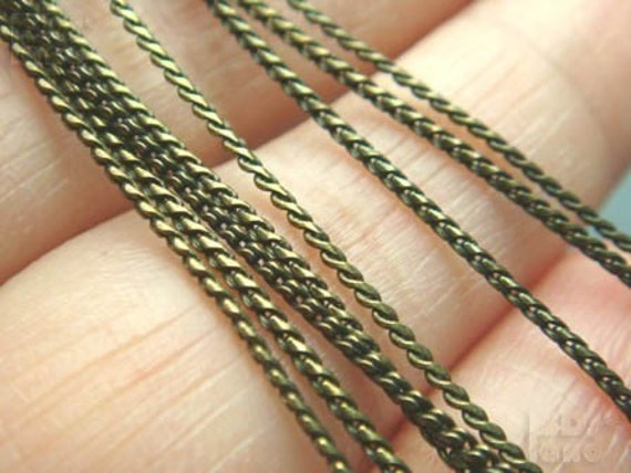 lastPACK (T322BS) 1Meter - Antique Brass Color Flattened Twisted Rope Chain