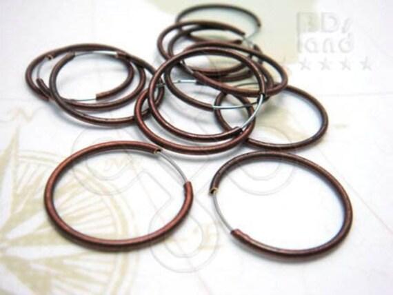 last / D509BZ / 12 Pc / Dia. 20 mm - Antique Copper Plated Simple Hoop Earrings / Ear Loop Findings