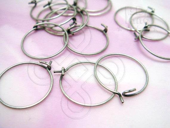 D606SA / 24Pc / Diameter 14mm x 23gauge - Antique Silver Plated Hoop Earrings / Earwires Findings ( XS )