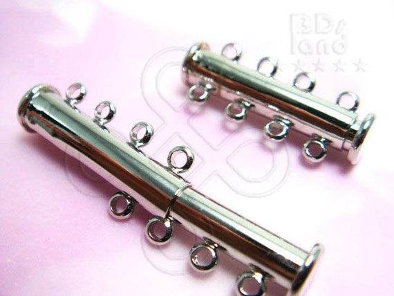 last 4 packs / B706RH / 2 Pc / 25 x 5 mm / 4 Strands - Rhodium Color 4 Strands Slot-in Magnetic Multi Strands Clasp / Connector