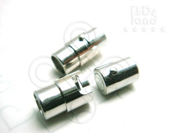 B216RH / 2 Sets / 17 x 8.5 mm - Rhodium Plated Magnetic Clasp with Extra Secure Groove Findings