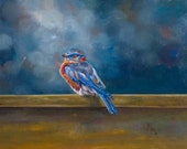 Custom order for Gail: Encaustic on Wood of Bluebird of Happiness Blues print by Pacific Northwest artist, Carrie Goller