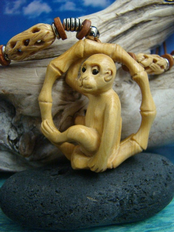 Monkey on Bamboo Swing, Hand Carved Peach-Tree Wood Pendant, Antique Carved Fancy Bone Beads Leather Cord Necklace