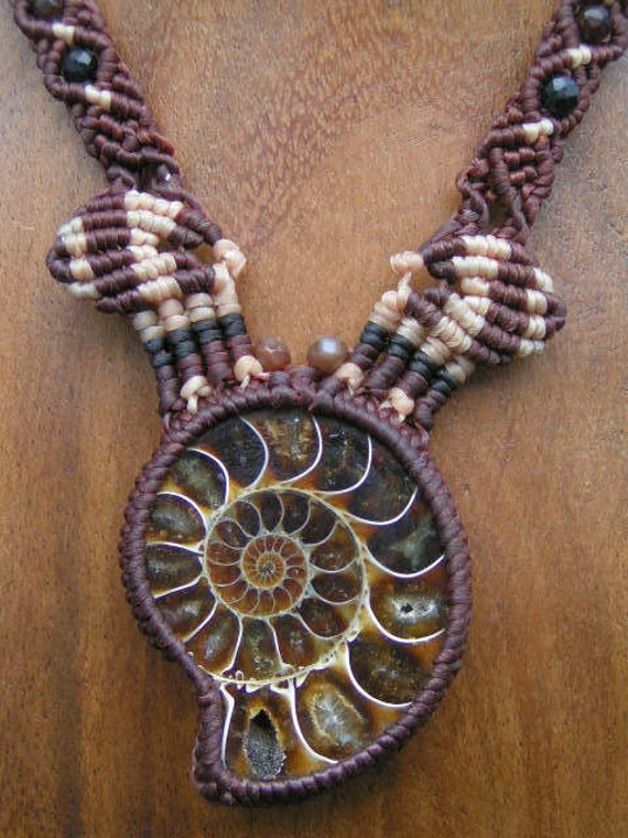Fossil Ammonite Crystallized Prehistoric Shell Pendant / Necklace - Micro Macrame Eco-friendly, organic bees waxed Hemp Cord