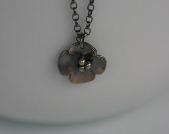 Oxidised Buttercup Drop pendant