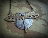 Dragonfly Necklace Steampunk Large Clock Face