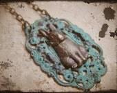 Bunny Necklace Verdigris Brass Steampunk Jewelry Victorian