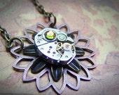 Steampunk Necklace Flower Necklace Clockworks Vintage Watch Movement Steampunk Jewelry Fire Crystal