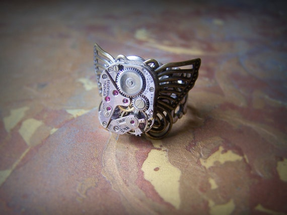 Steampunk Ring, Butterfly Ring, Vintage Watch Movement, Clockwork Ring, Vintage Jewelry