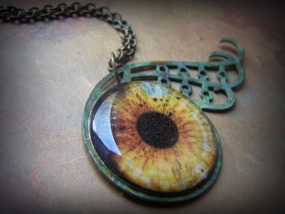 Steampunk Necklace Eye with Verdigris Lashes