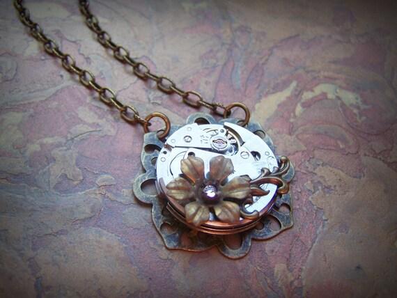 Steampunk Necklace Vintage Watch Movement Clockworks Steampunk Jewelry