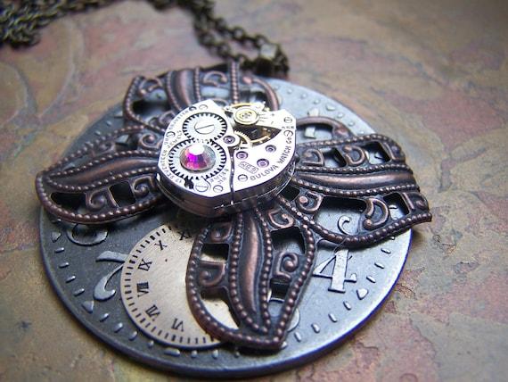 Steampunk Necklace Butterfly Necklace Clockworks