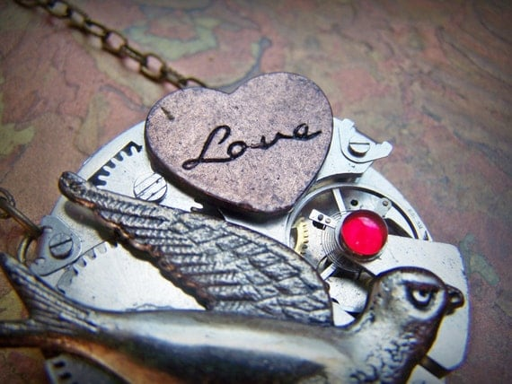 Steampunk Necklace Large Pocket Watch Movement Swallow Bird Red Heart Love