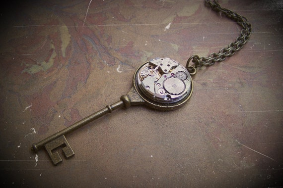 Clockworks Key Necklace Steampunk Jewelry