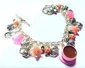 Time for Tea - Pink & White Polka Dot Teacup Saucer Clock Daisy Charm Bracelet