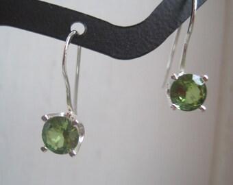 Green Peridot Sterling Silver Earrings