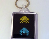 Space Invaders II Cross Stitch Key Ring