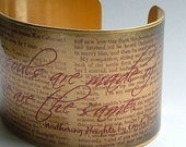 Wuthering Heights Book - Emily Bronte's Haunting Literary Classic - Brass Cuff Bracelet - Perfect Valentines Day Gift For Wife