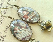 Alice In Wonderland 'A Mad Tea-Party' Literary Book Charm Earrings