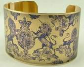 Heraldic Coat of Arms Historical Brass Cuff Bracelet - Royal Victoriana Toile de Jouy in Violet
