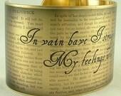 Cuff Bracelet Brass Pride and Prejudice by Jane Austen Jewelry Literary Mr Darcy In Vain