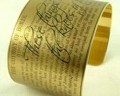 Homer's The Odyssey - Ancient Greek Poetry - Literary Brass Cuff Bracelet