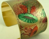 Jellyfish Ocean Jewelry - Brass Cuff Bracelet with Vibrant Turquoise and Pink
