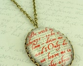 Heathcliff and Cathy - Wuthering Heights - ABYSS - Literary Quote Glass Necklace