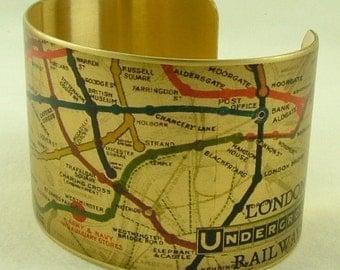 London Underground Map - London Subway Map - Map Jewellery - Cuff Bracelet - British Gift - Travel Gift - Travel Jewelry