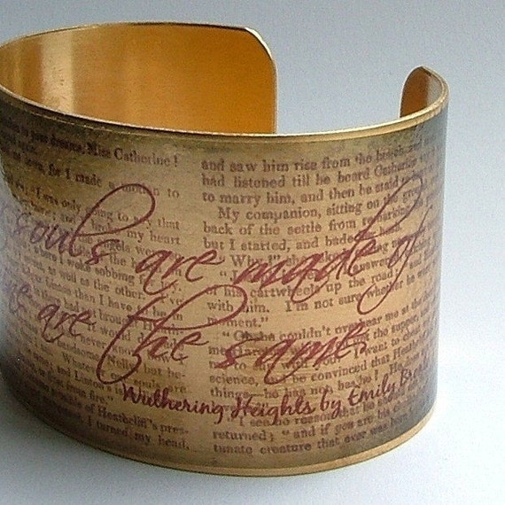 Wuthering Heights Book - Emily Bronte's Haunting Literary Classic - Brass Cuff Bracelet - Perfect Romantic Gift For Wife
