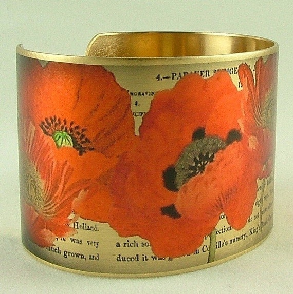 Poppy Flower Brass Cuff Bracelet - Pretty Orange Poppies