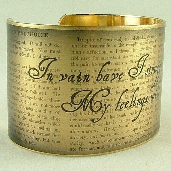 Cuff Bracelet Brass Pride and Prejudice by Jane Austen Jewelry Literary Mr Darcy In Vain