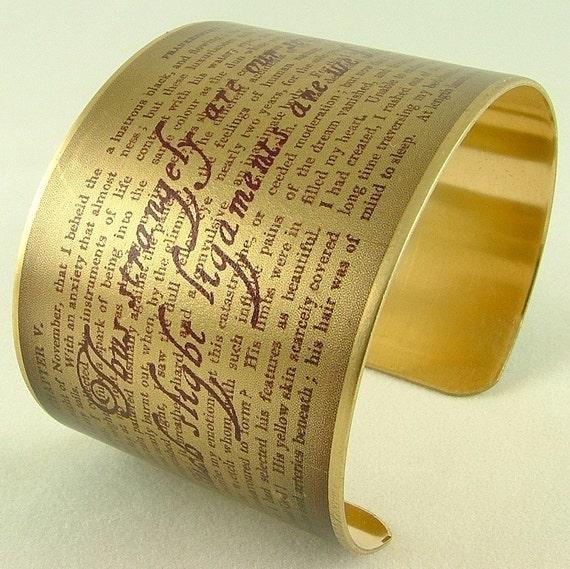 Frankenstein The Modern Prometheus by Mary Shelley Gothic Horror English Literary Brass Cuff Bracelet