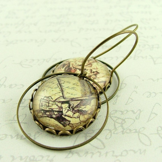 Mad Hatter and White Rabbit Literary Book Earrings - Alice In Wonderland Jewelry