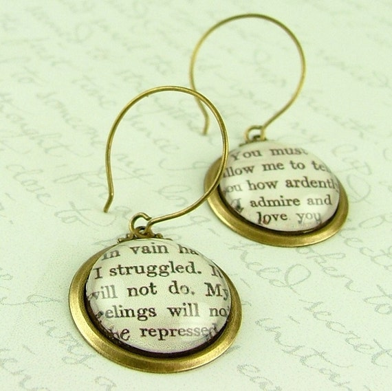 Jane Austen Literary Lovers Book Earrings 'Pride and Prejudice' - How Ardently I Admire and Love You