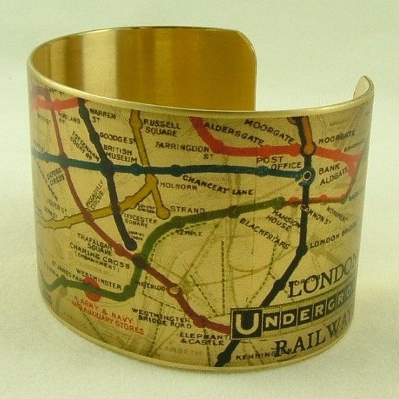 Vintage London Underground Railways Map Brass Cuff Bracelet - Map Jewelry