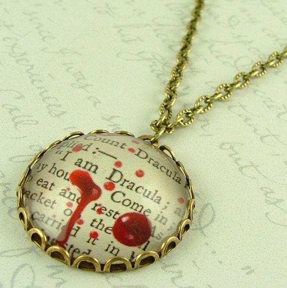 Count Dracula Necklace - Literary Vampire Quote Jewelry