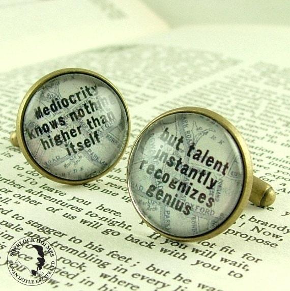 SALE - Cufflinks Steampunk - Sherlock Holmes - Literature Jewelry - Cuff Links